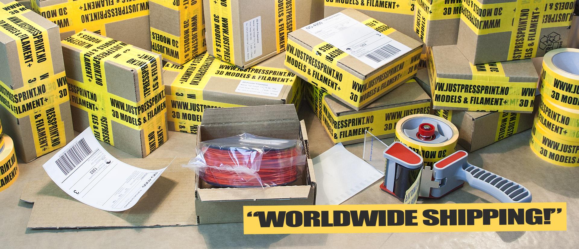 Justpressprint packaging worldwide filament shipping