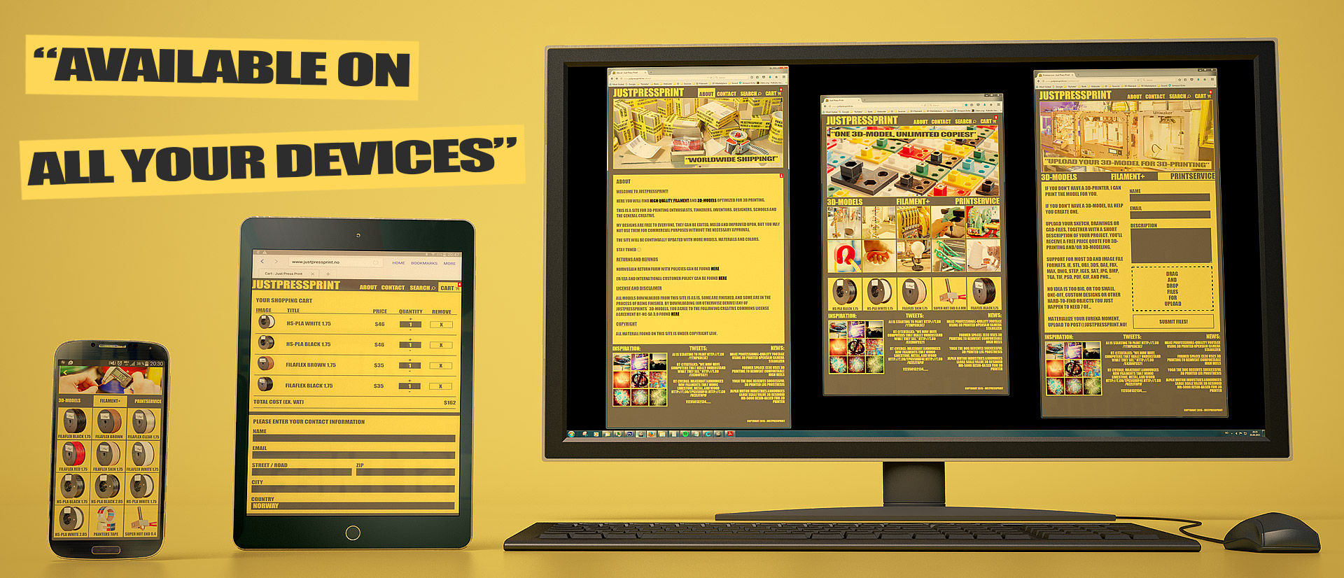 Justpressprint available all devices mobile pad workstation
