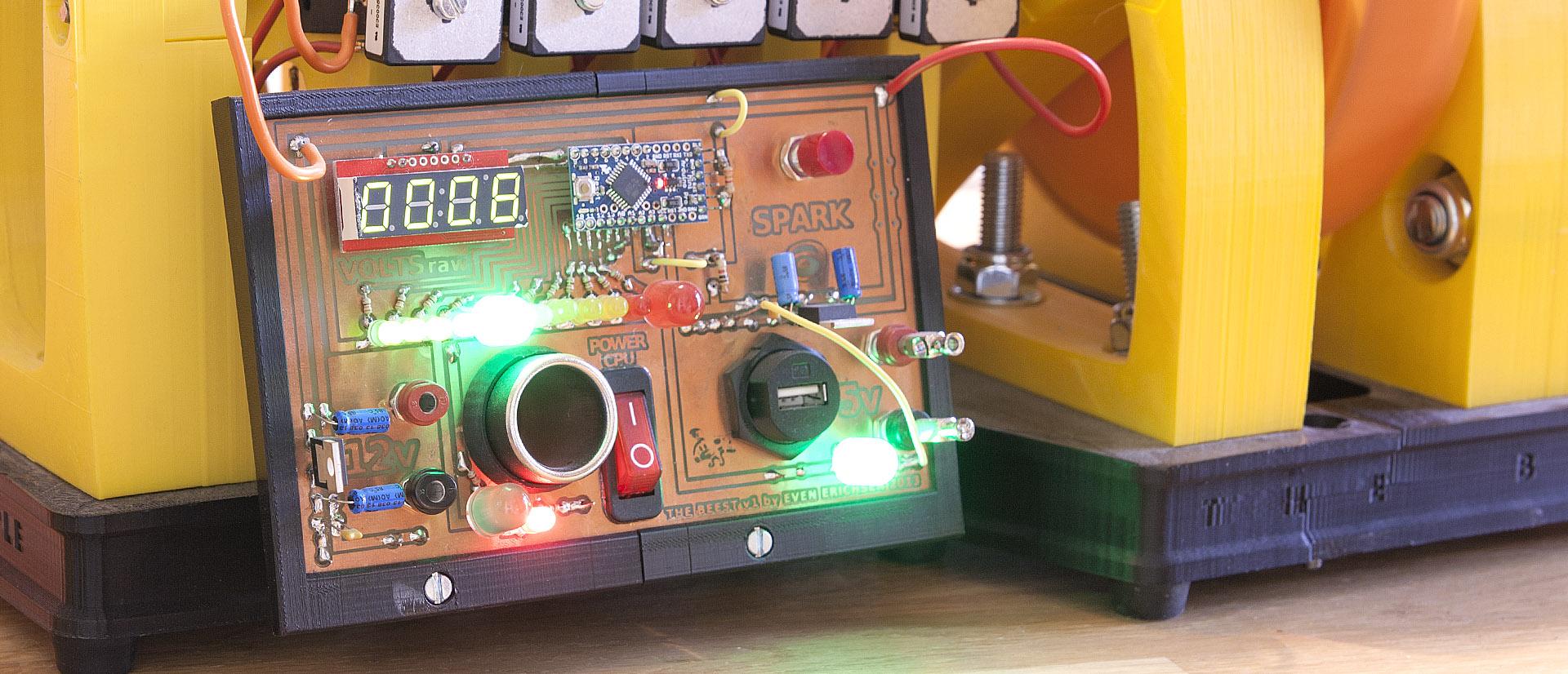 Justpressprint 3d printed Power Generator The Beest PCB input output control panel