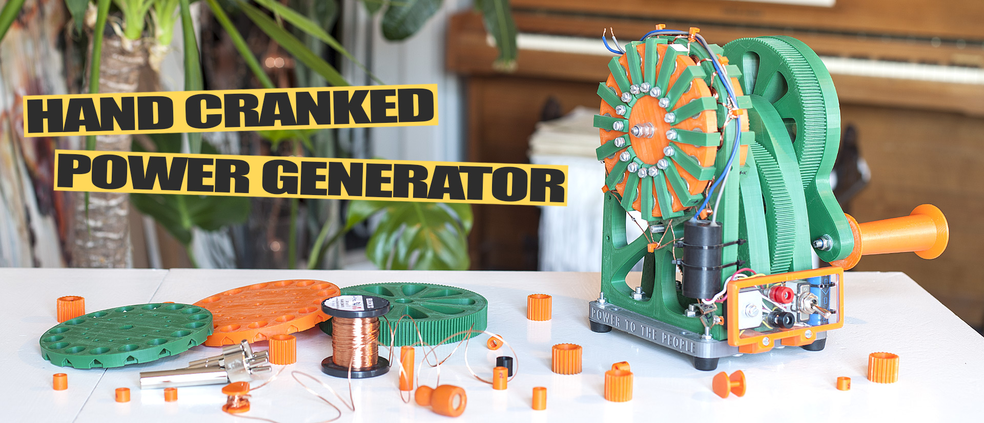 Justpressprint 3d printed Power Generator v1 and parts