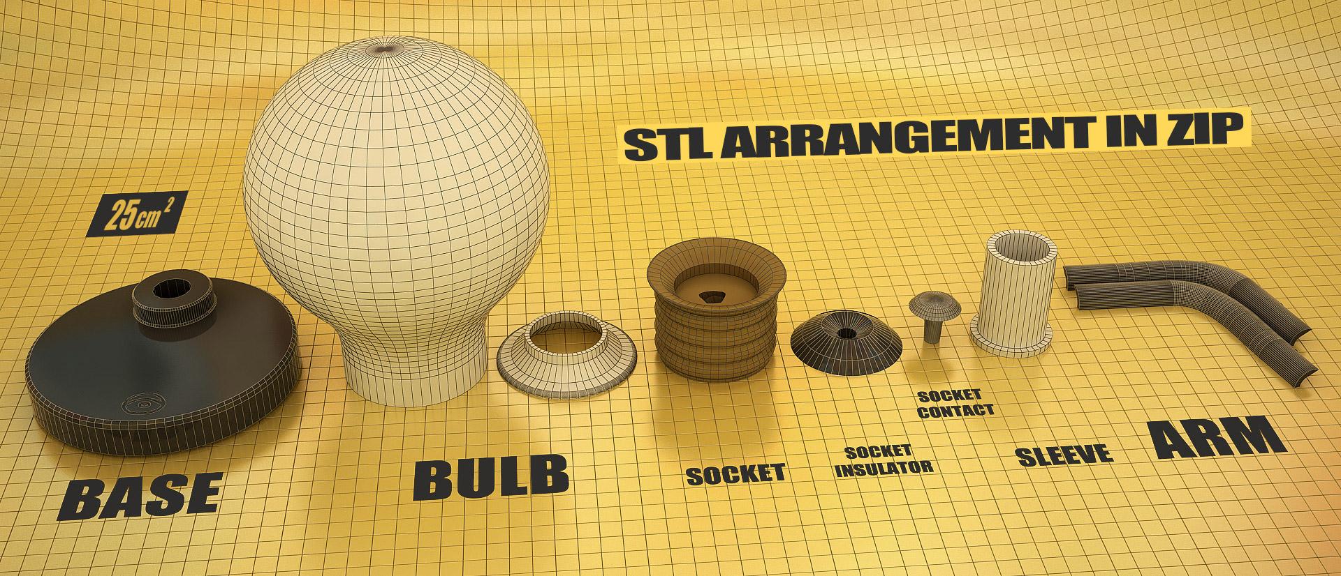 Justpressprint 3d print Bulb Light STL arrangement in zip