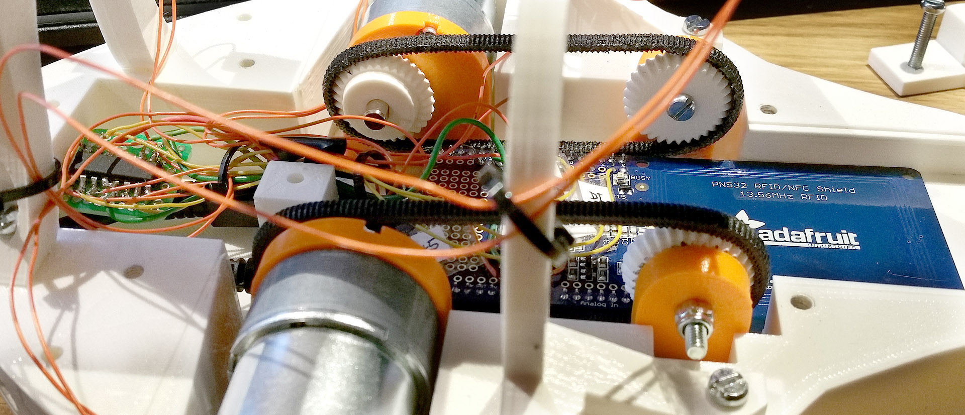 Inside 3d printed Cat Feeder Arduino electronics