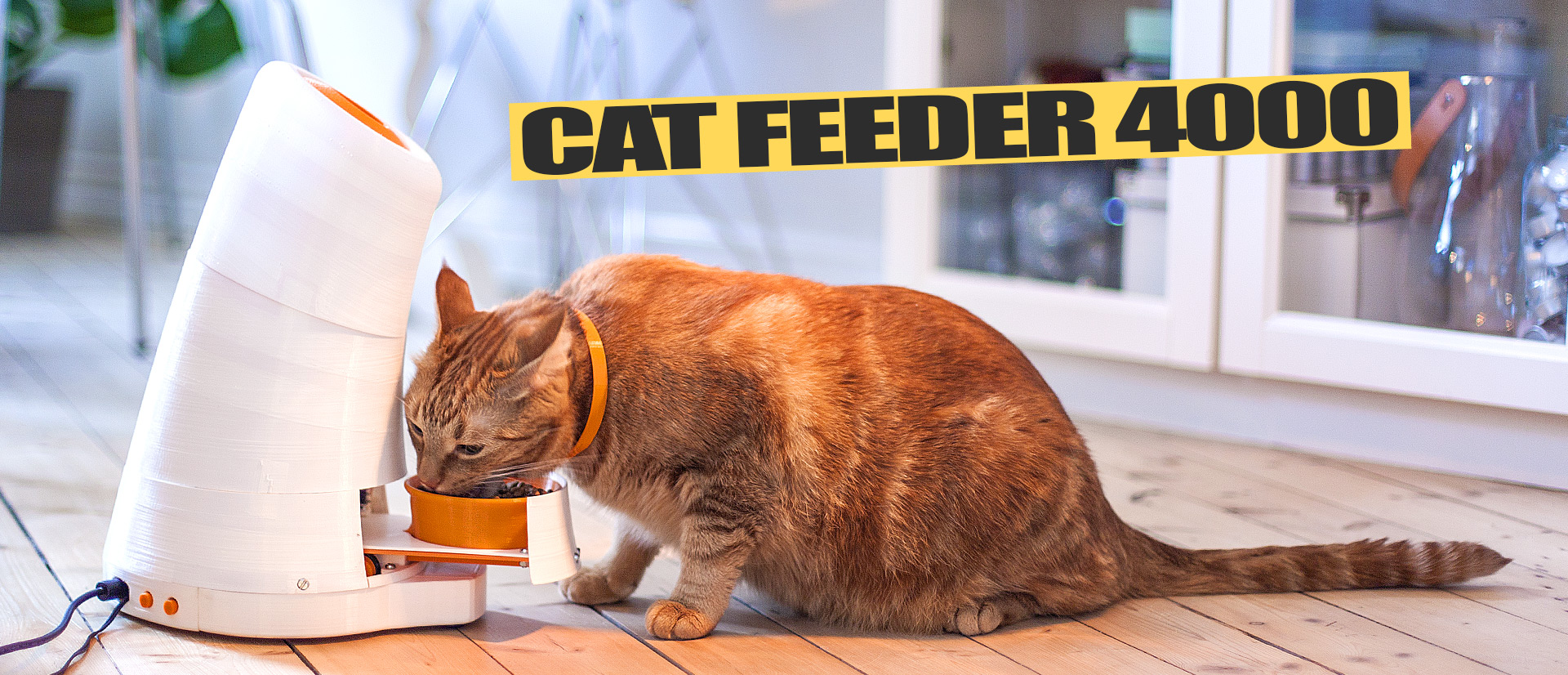 Justpressprint 3d printed Cat Feeder cat eating