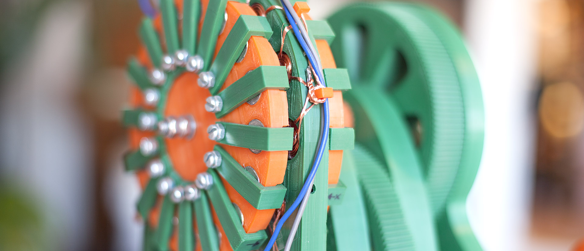 Justpressprint 3d printed Power Generator v1 closeup